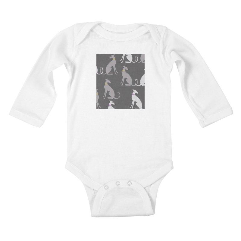 Whippet Pattern Kids Baby Longsleeve Bodysuit by ivvch's Artist Shop