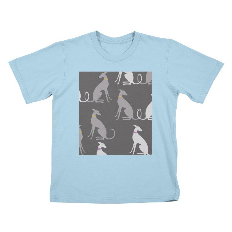 Whippet Pattern Kids T-Shirt by ivvch's Artist Shop