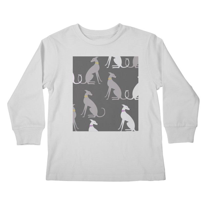 Whippet Pattern Kids Longsleeve T-Shirt by ivvch's Artist Shop