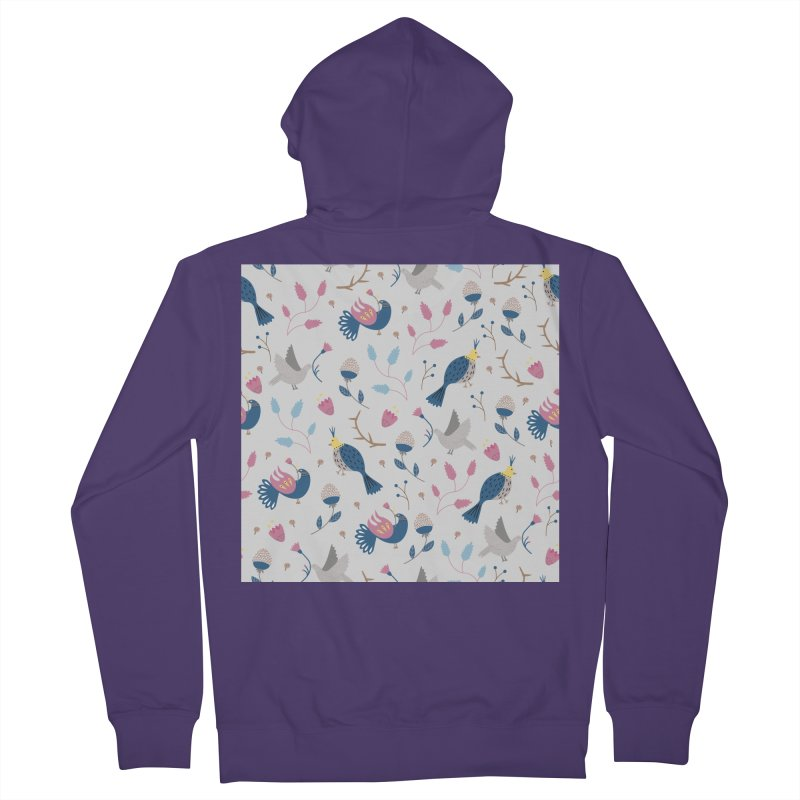Birds Pattern Women's French Terry Zip-Up Hoody by ivvch's Artist Shop
