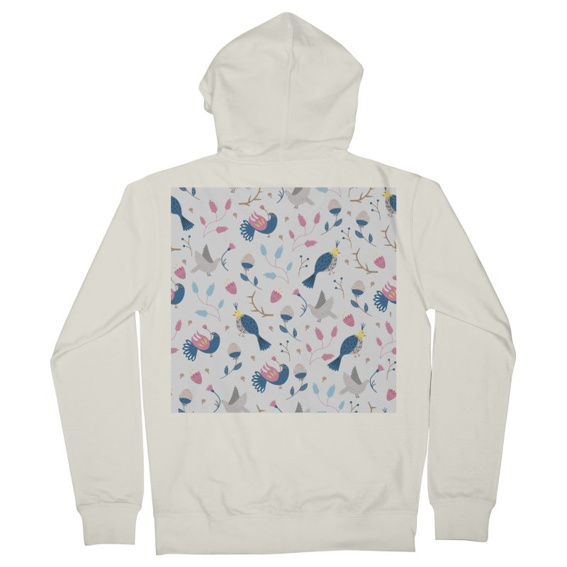 Birds Pattern Men's French Terry Zip-Up Hoody by ivvch's Artist Shop