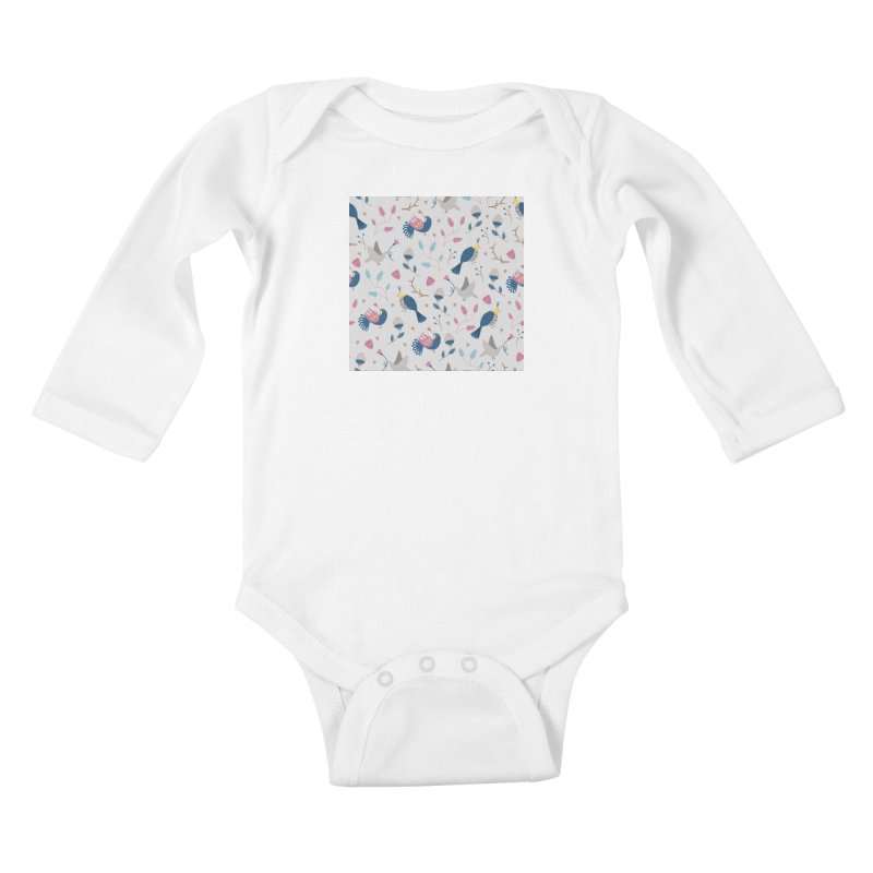 Birds Pattern Kids Baby Longsleeve Bodysuit by ivvch's Artist Shop