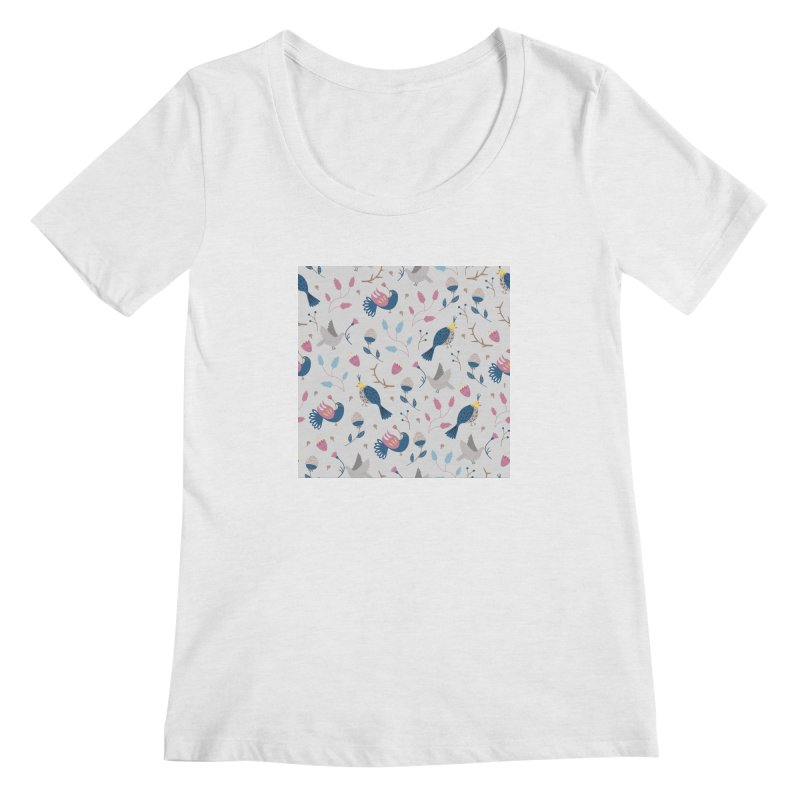 Birds Pattern Women's Regular Scoop Neck by ivvch's Artist Shop