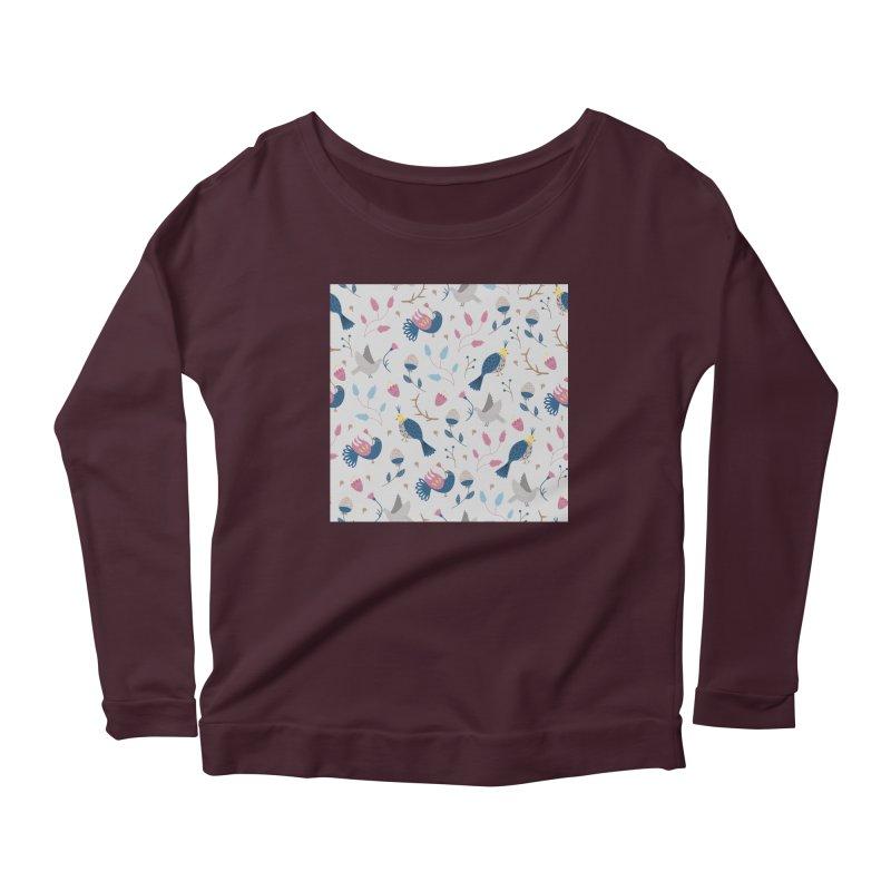 Birds Pattern Women's Scoop Neck Longsleeve T-Shirt by ivvch's Artist Shop