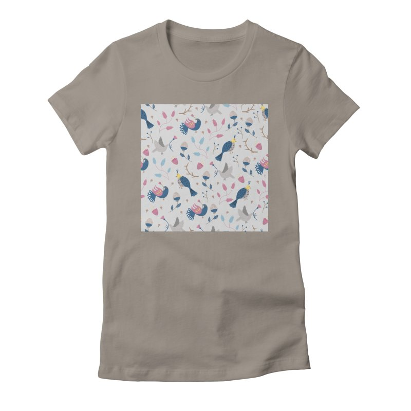 Birds Pattern Women's Fitted T-Shirt by ivvch's Artist Shop