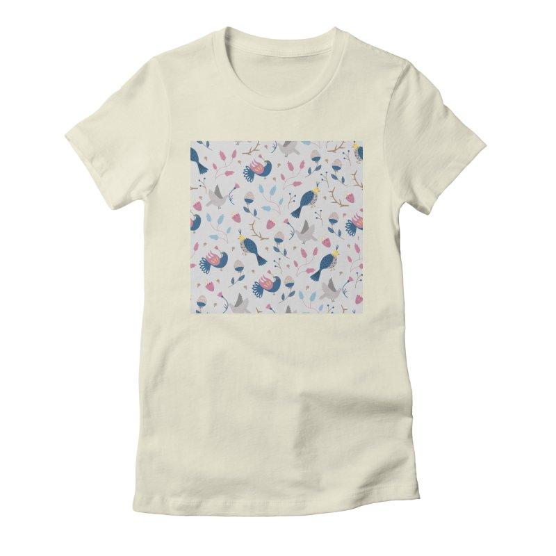 Birds Pattern Women's Fitted T-Shirt by ivvch's Artist Shop