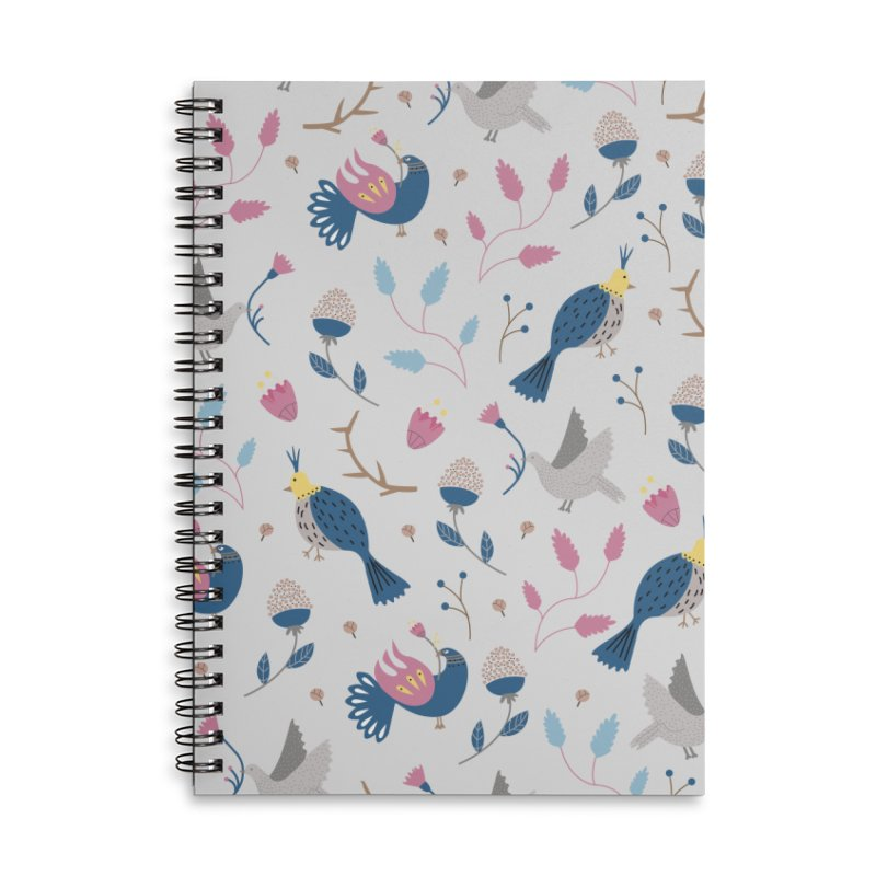 Birds Pattern Accessories Lined Spiral Notebook by ivvch's Artist Shop