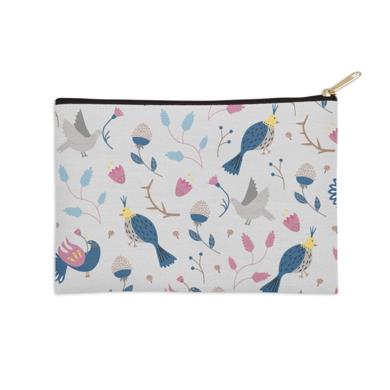 Birds Pattern Accessories Zip Pouch by ivvch's Artist Shop