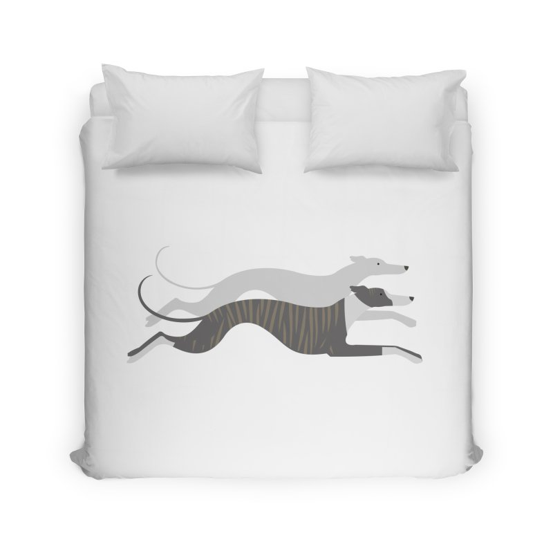 Flying Whippets Home Duvet by ivvch's Artist Shop