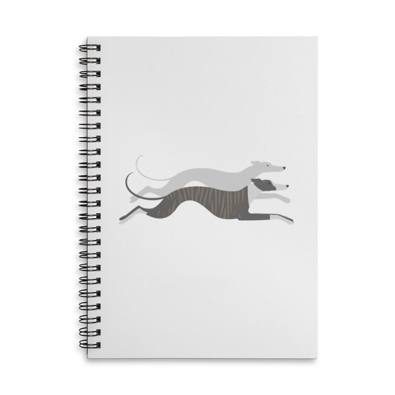 Flying Whippets Accessories Lined Spiral Notebook by ivvch's Artist Shop