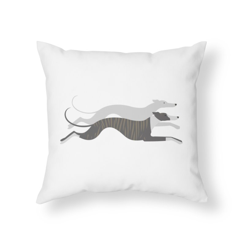 Flying Whippets Home Throw Pillow by ivvch's Artist Shop