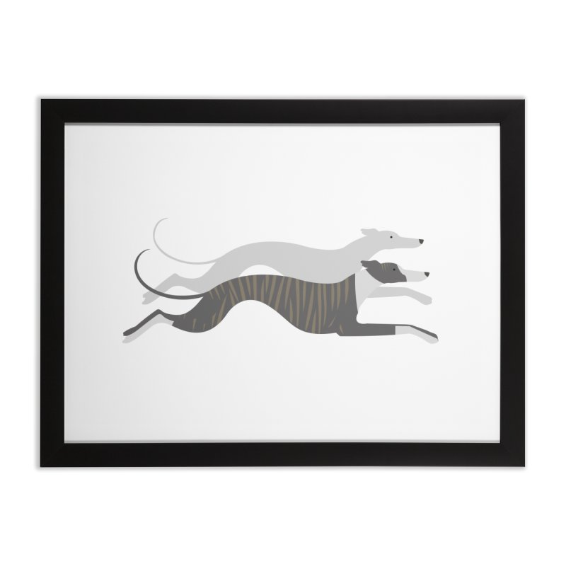 Flying Whippets Home Framed Fine Art Print by ivvch's Artist Shop