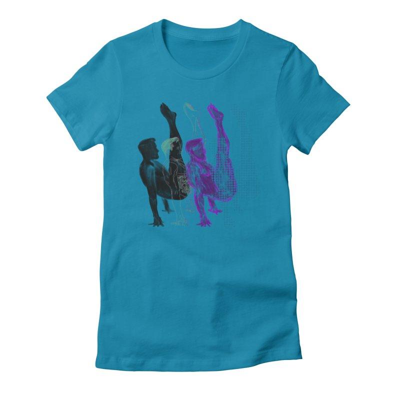 popart penguin Women's Fitted T-Shirt by Izzy Berdan's Artist Shop