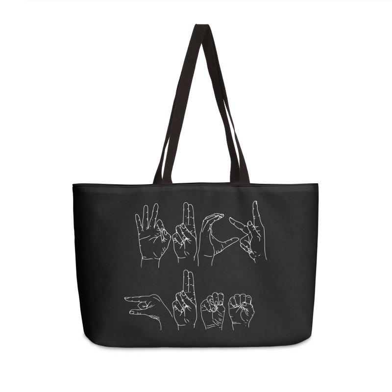 F*CK GUNS white in Weekender Bag by izzyberdan's Artist Shop