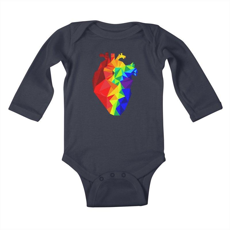 Crystal Heart Kids Baby Longsleeve Bodysuit by Izzy Berdan's Artist Shop