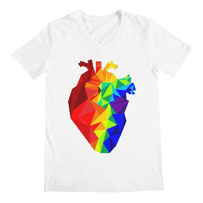 Crystal Heart Men's V-Neck by Izzy Berdan's Artist Shop
