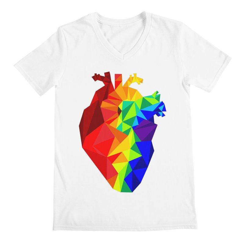 Crystal Heart in Men's Regular V-Neck White by Izzy Berdan's Artist Shop