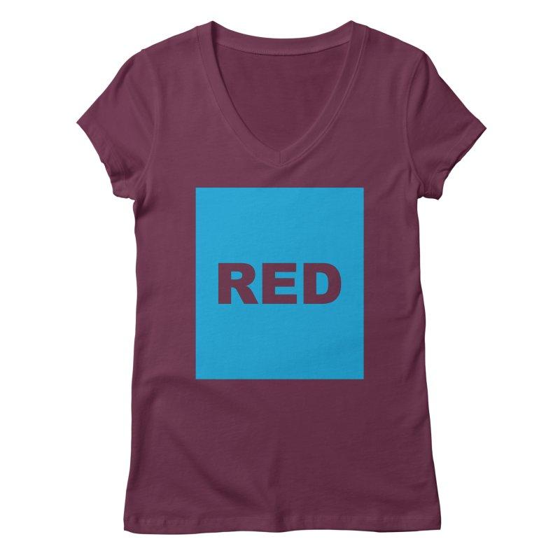 red is blue Women's Regular V-Neck by Izzy Berdan's Artist Shop