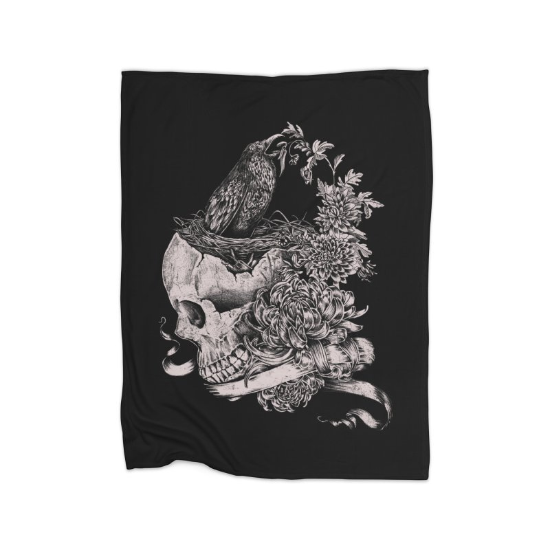 Crow Home Fleece Blanket Blanket by jackduarte's Artist Shop