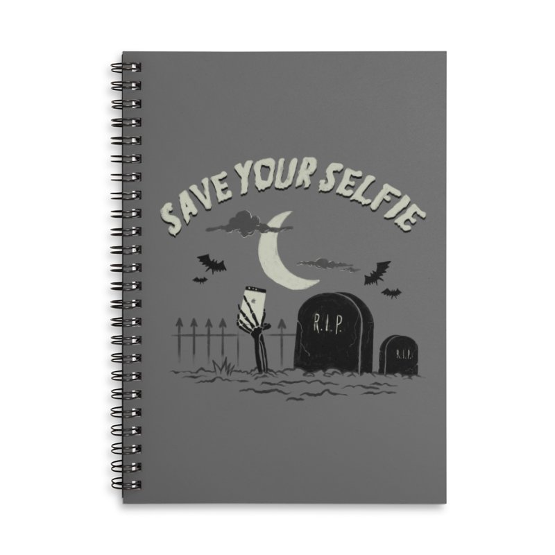 Save your selfie Accessories Lined Spiral Notebook by jackduarte's Artist Shop