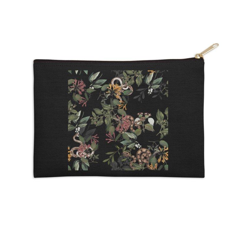 Floral snake Accessories Zip Pouch by jackduarte's Artist Shop