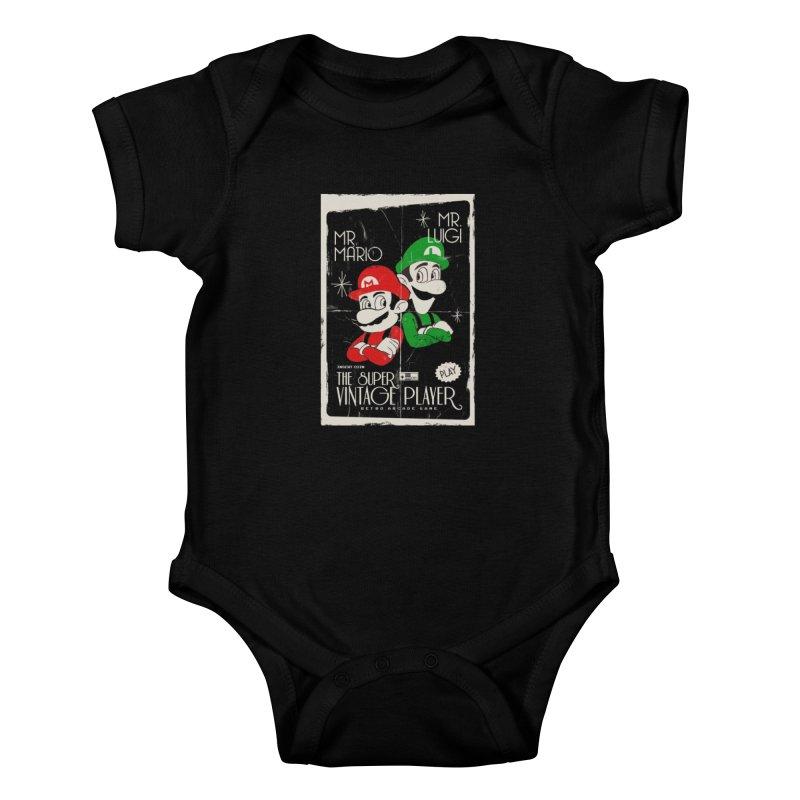 Mario vintage Kids Baby Bodysuit by jackduarte's Artist Shop