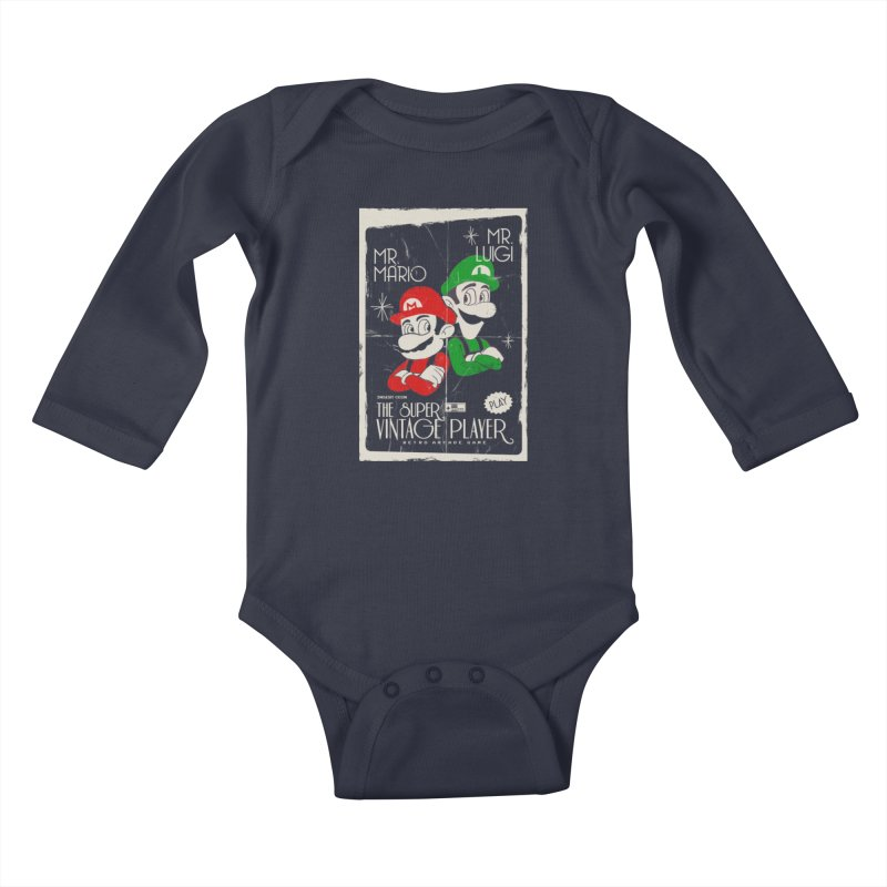 Mario vintage Kids Baby Longsleeve Bodysuit by jackduarte's Artist Shop
