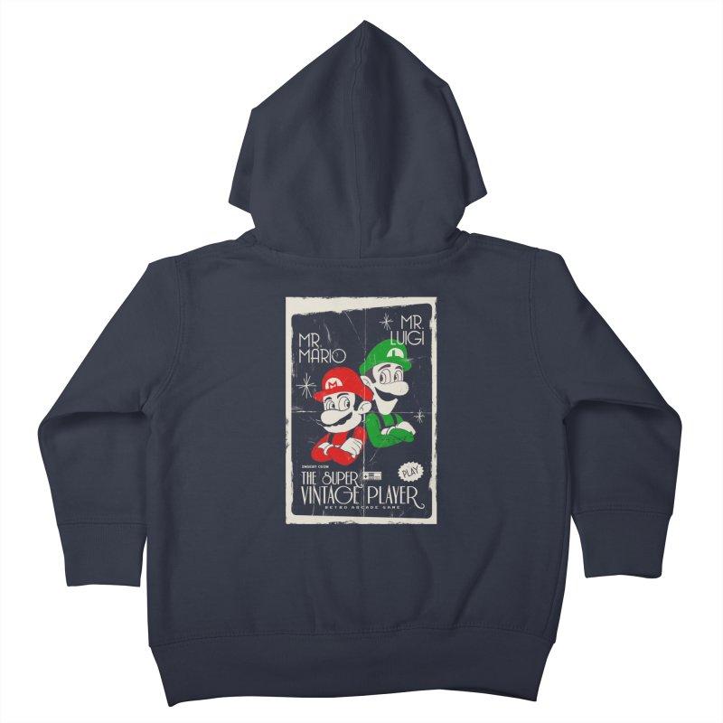 Mario vintage Kids Toddler Zip-Up Hoody by jackduarte's Artist Shop