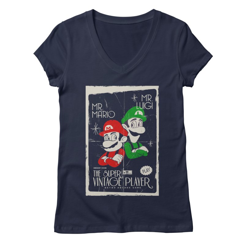 Mario vintage Women's V-Neck by jackduarte's Artist Shop