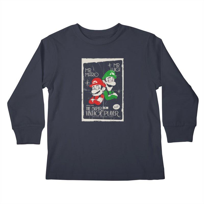 Mario vintage Kids Longsleeve T-Shirt by jackduarte's Artist Shop