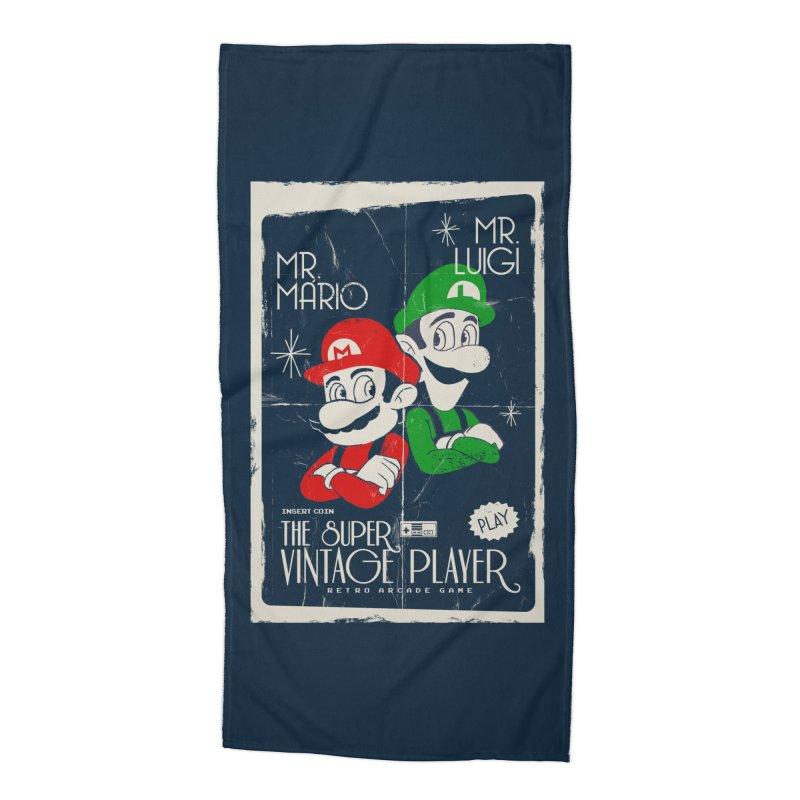 Mario vintage Accessories Beach Towel by jackduarte's Artist Shop