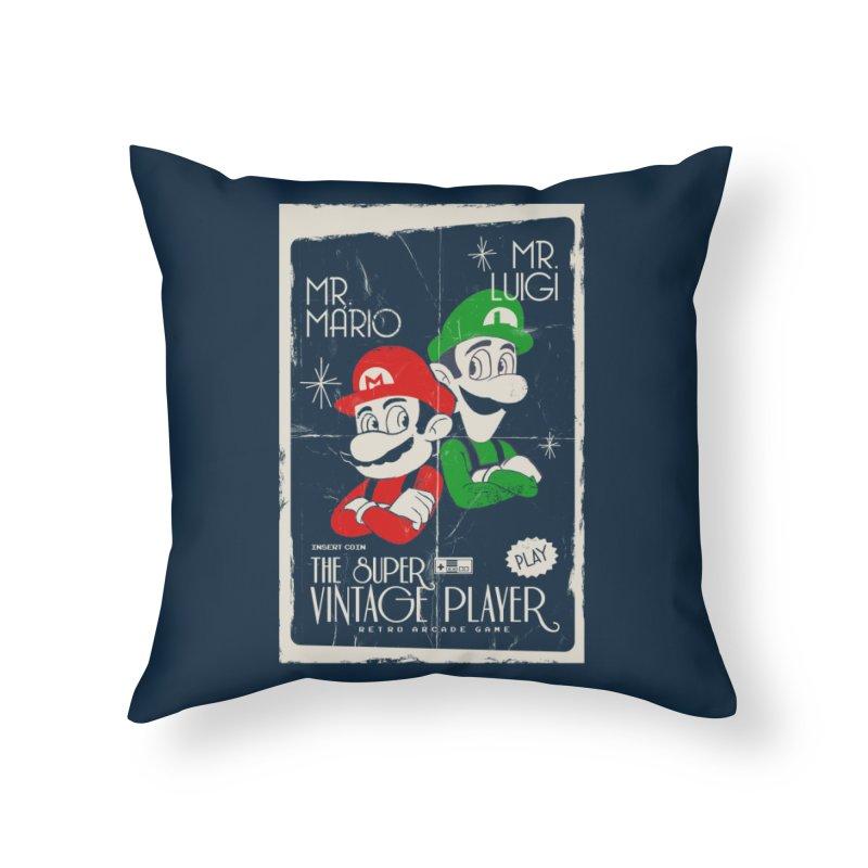 Mario vintage Home Throw Pillow by jackduarte's Artist Shop