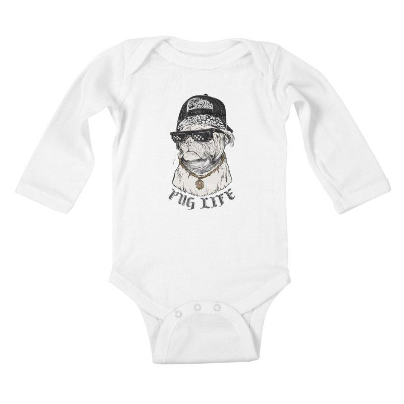 Pug life Kids Baby Longsleeve Bodysuit by jackduarte's Artist Shop