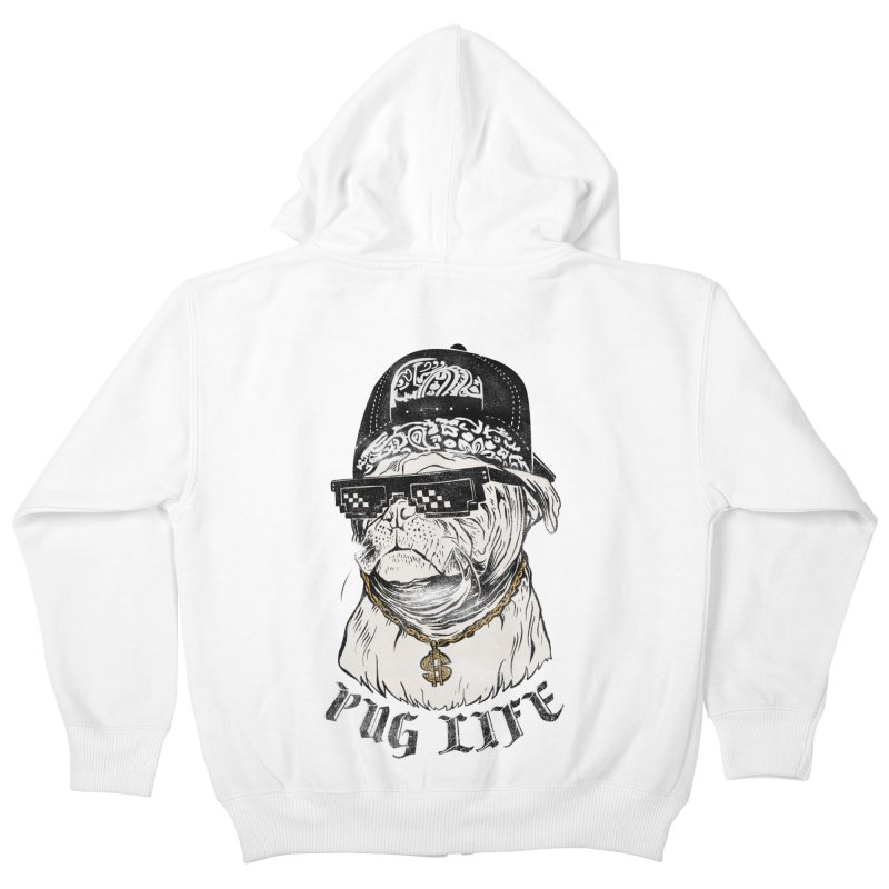 Pug life Kids Zip-Up Hoody by jackduarte's Artist Shop
