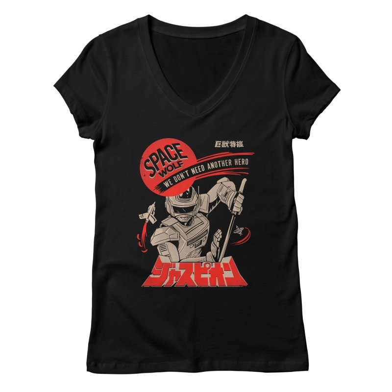 Space wolf Women's V-Neck by jackduarte's Artist Shop