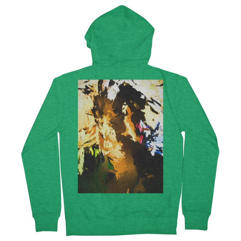 Man in the Green Shirt Eating Pizza Men's French Terry Zip-Up Hoody by jackievano's Artist Shop