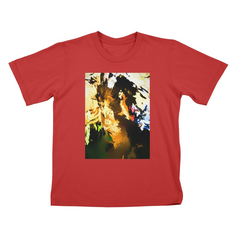 Man in the Green Shirt Eating Pizza Kids T-Shirt by jackievano's Artist Shop