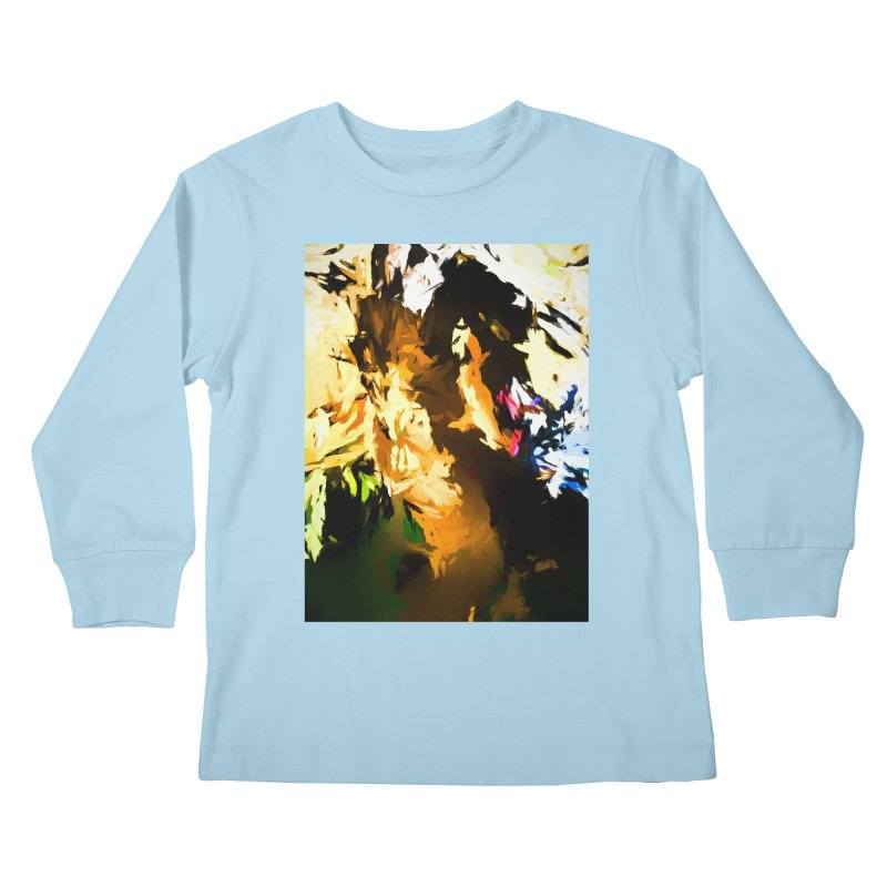 Man in the Green Shirt Eating Pizza Kids Longsleeve T-Shirt by jackievano's Artist Shop