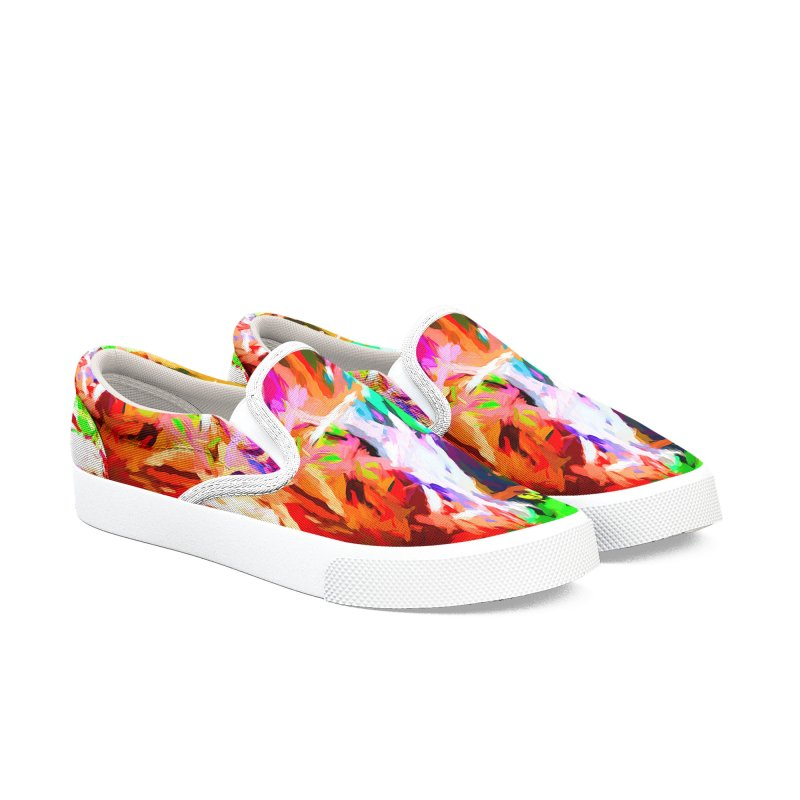 Orange Fire and the Triangle Abyss Men's Slip-On Shoes by jackievano's Artist Shop