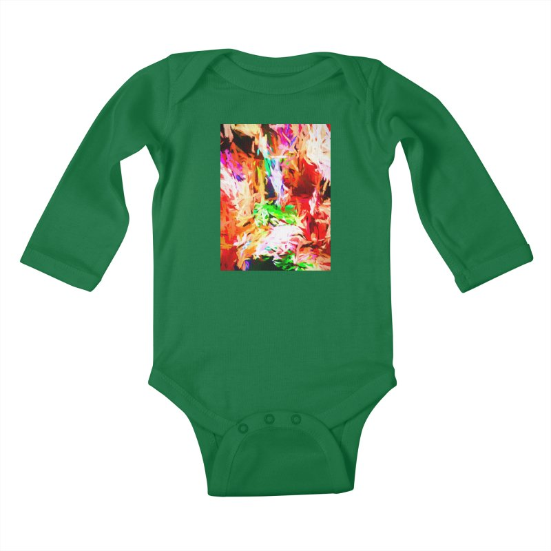 Orange Fire and the Triangle Abyss Kids Baby Longsleeve Bodysuit by jackievano's Artist Shop