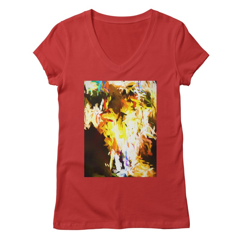 Cat with the Red Lipstick Women's Regular V-Neck by jackievano's Artist Shop