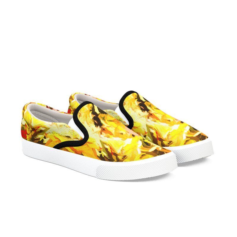 Yellow Fire and the Triangle Abyss Men's Slip-On Shoes by jackievano's Artist Shop