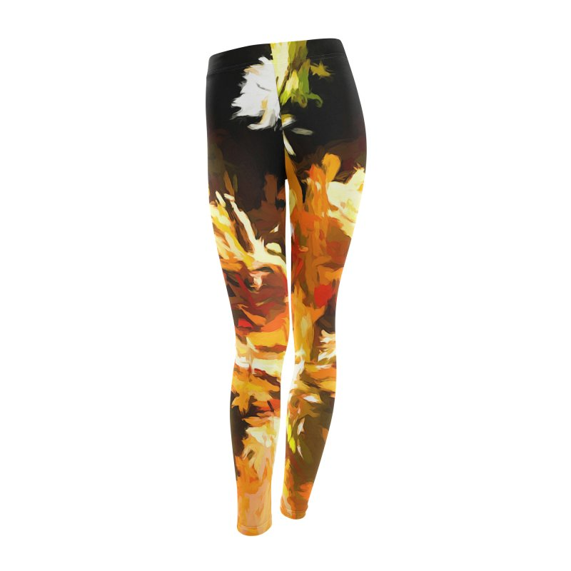 Self Portrait with the White Flower Women's Leggings Bottoms by jackievano's Artist Shop