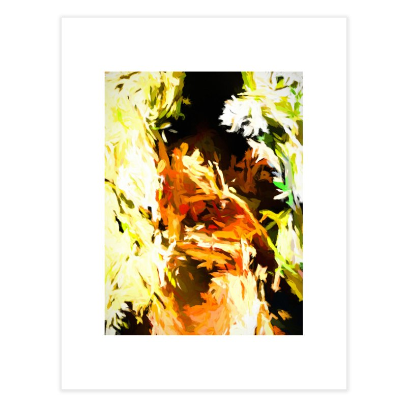 Self Portrait with the White Flower Home Fine Art Print by jackievano's Artist Shop