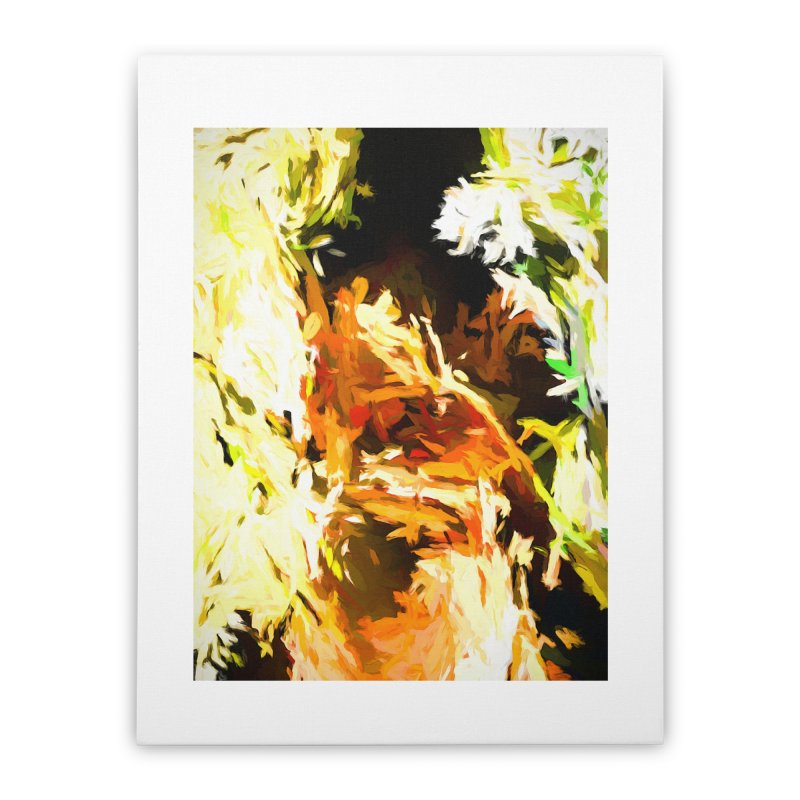 Self Portrait with the White Flower Home Stretched Canvas by jackievano's Artist Shop