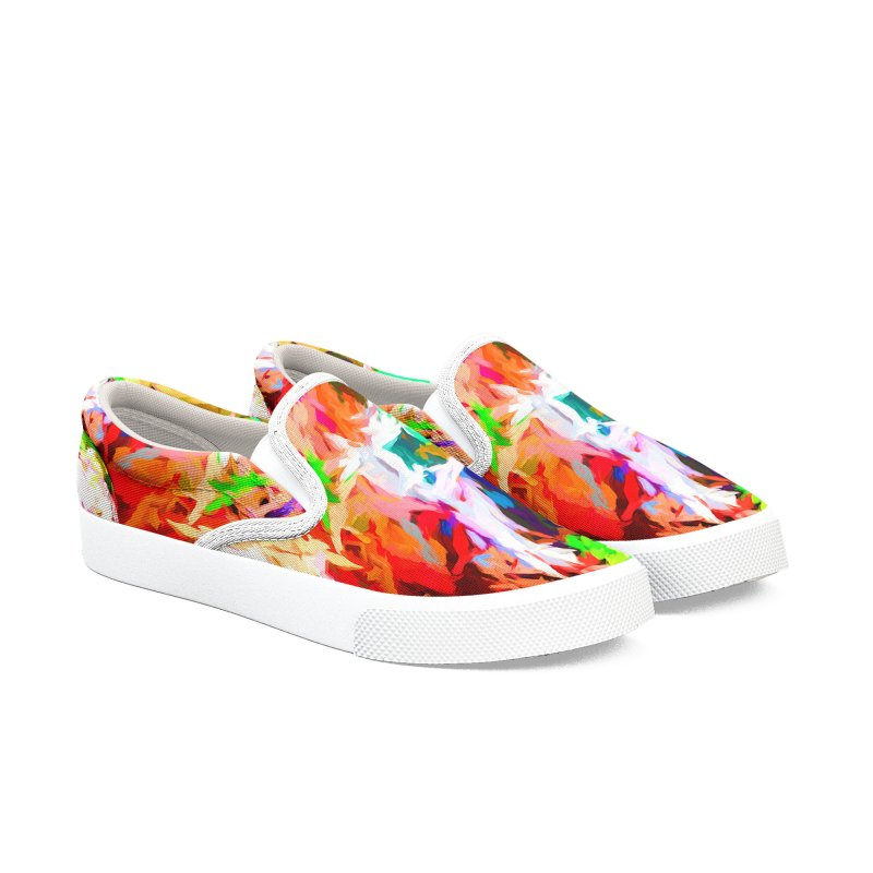 Orange Fire with the Blue Teardrops Men's Slip-On Shoes by jackievano's Artist Shop