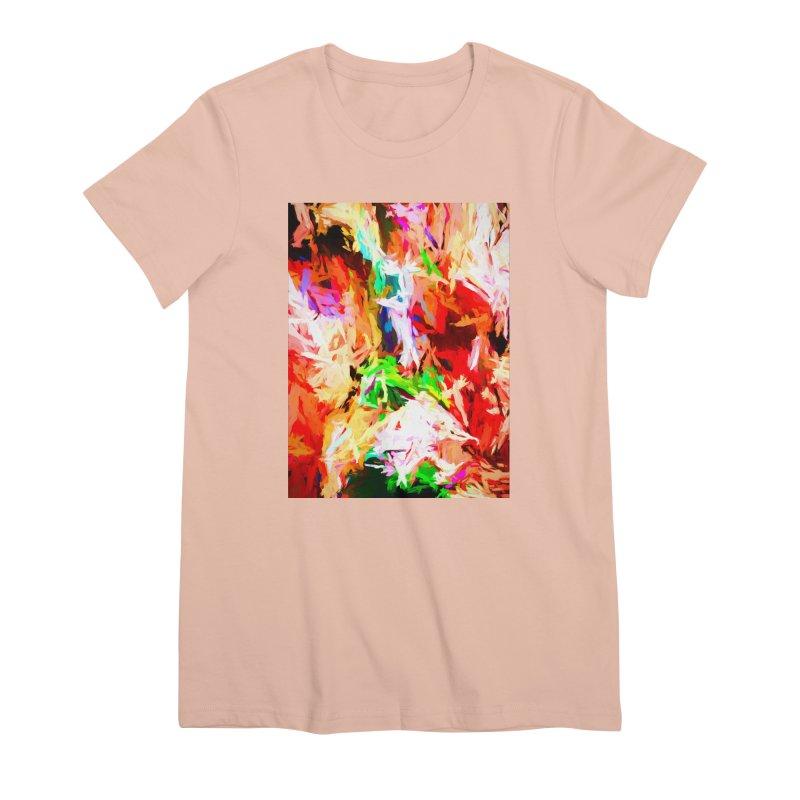 Orange Fire with the Blue Teardrops Women's Premium T-Shirt by jackievano's Artist Shop