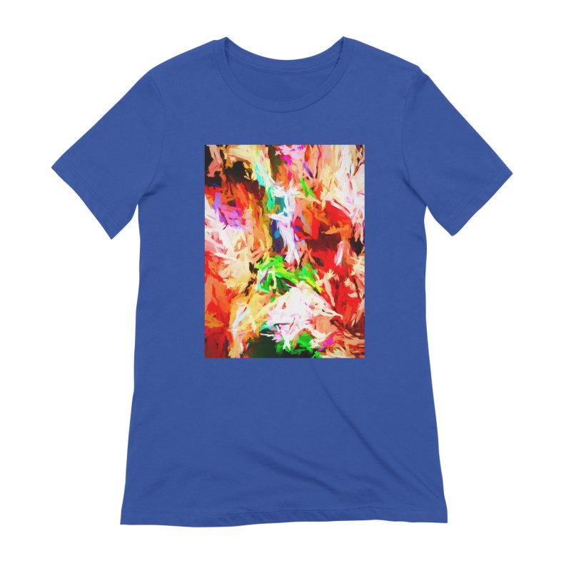 Orange Fire with the Blue Teardrops Women's Extra Soft T-Shirt by jackievano's Artist Shop