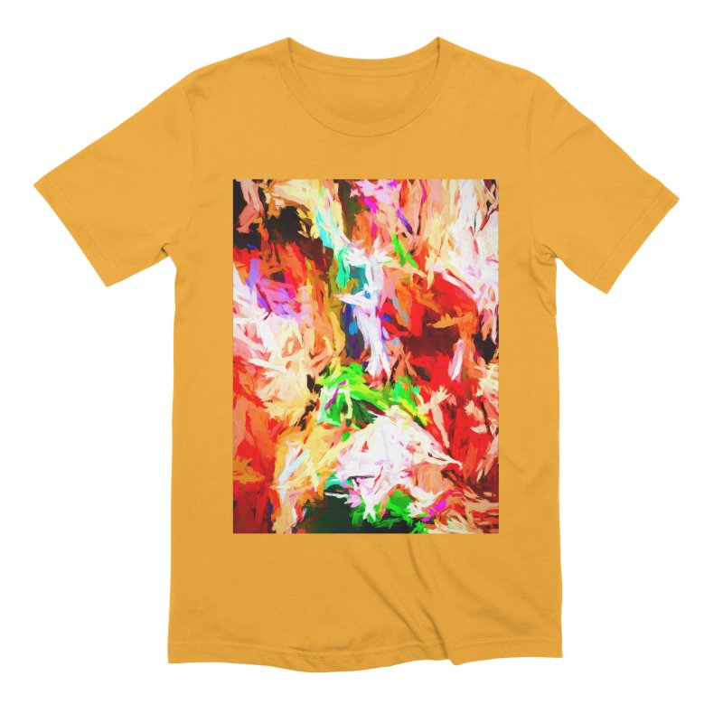 Orange Fire with the Blue Teardrops Men's Extra Soft T-Shirt by jackievano's Artist Shop