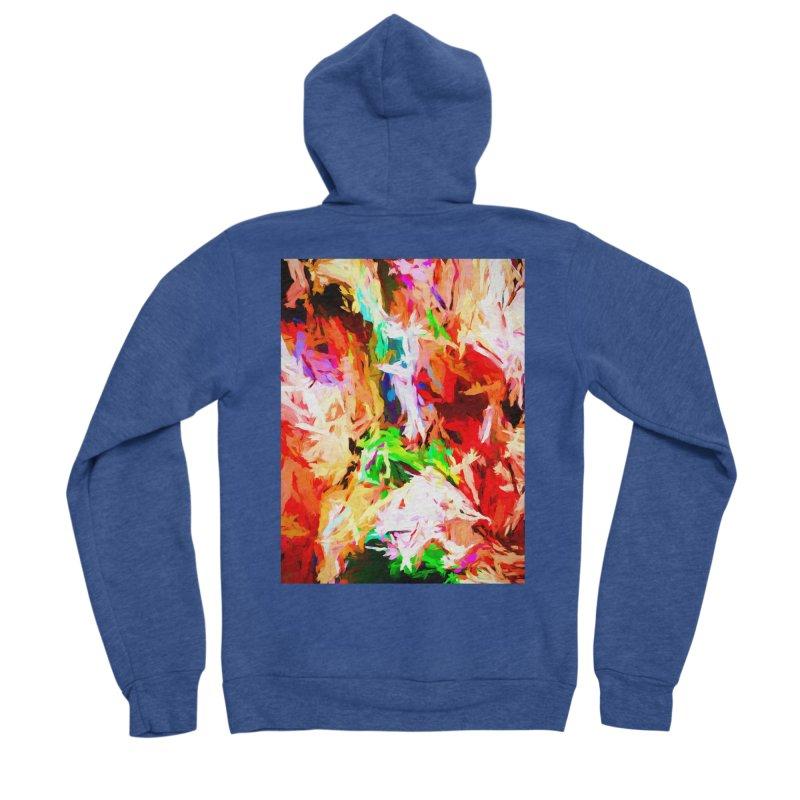 Orange Fire with the Blue Teardrops Men's Sponge Fleece Zip-Up Hoody by jackievano's Artist Shop